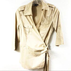 Boston Proper Khaki 3/4 Sleeve Wrap Blouse
